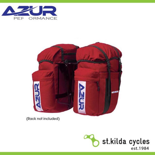 Azur Bike Bicycle Commuter Rear Pannier Bag - Red (Pair)