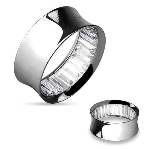 PAIR Inner Gems Steel Saddle Tunnels Plugs Gauges choose Clear or Clear//Black