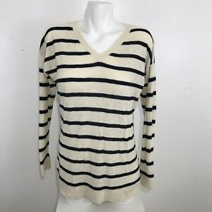 3f2e24fdc06ed Vince Womens Long Sleeve V-Neck Striped Thin Knit Shirt Tunic Top ...