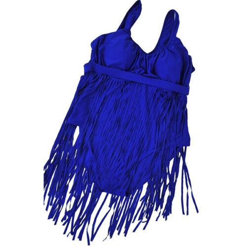 Women Halter Neck Tassel High Waist Bikini Swimwear Bathing Swimsuit Plus Size