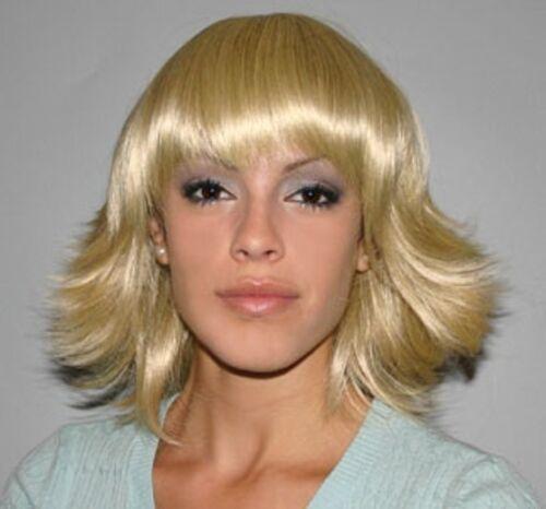 UMA 60/'S 70/'S DISCO FEVER DIVA WOMAN LADY BLONDE BROWN FLIP COSTUME WIG BANGS