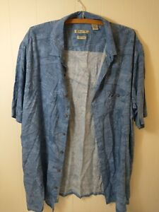 Batik Bay Men's Button Shirt Size 2XLT Blue Short Sleeve Hawaiian Easy Care