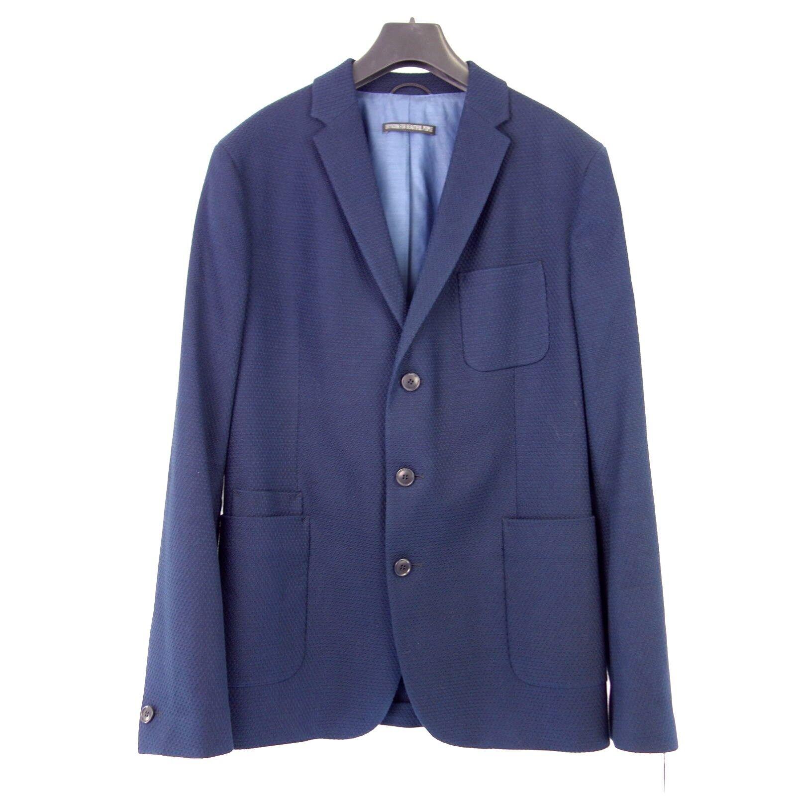 DRYKORN Herren Sakko BURLEY Gr 50 54 Blau Baumwolle Jacket Einreiher NP 229 NEU