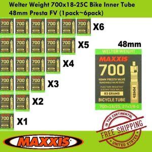 6 Pack Maxxis Welter Weight 700x28-35C 48mm Bike Inner Tube Presta FV 1Pack