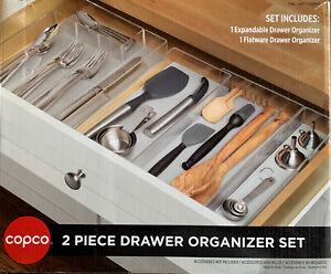 2-Piece Copco Kitchen Drawer Flatware Silverware Organizer Set Custom Fit Soft