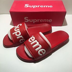 9670c0ed1da7 Chargement de l image 100-Authentic-SUPREME-SLIDES-SANDALS-SLIPPERS- FLIP-FLOPS-
