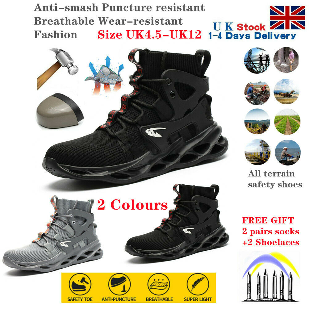 Safety Shoes Men Breathable Lightweight Air Work Boot Steel Toe Hiking Trainers