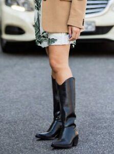 Zara Black Leather Cowboy Heeled Knee