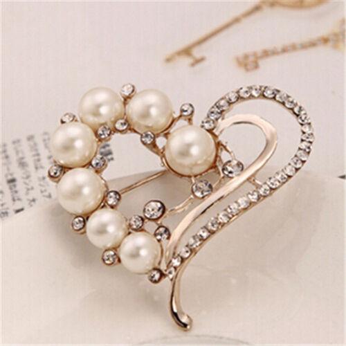 Female Fashion Heart Shaped Crystal Imitation Pearls Brooch Wedding Jewelry LH