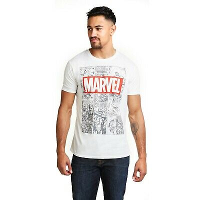 4f5d064f Official Marvel Mens Mono Comic T-Shirt Tee - Thor Spider Man Iron Man Hulk