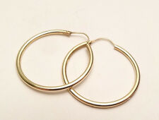 "14K YELLOW GOLD SHINY CLASSIC HOOP EARRINGS 1"" INCH DIAMETER"