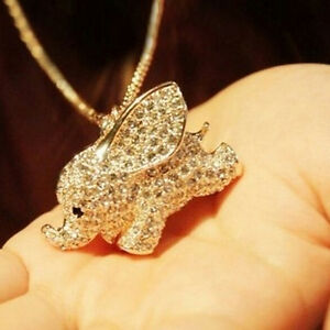 Gold-Plated-Crystal-Cute-Baby-Elephant-Pendant-Chain-Sweater-Necklace-Jl