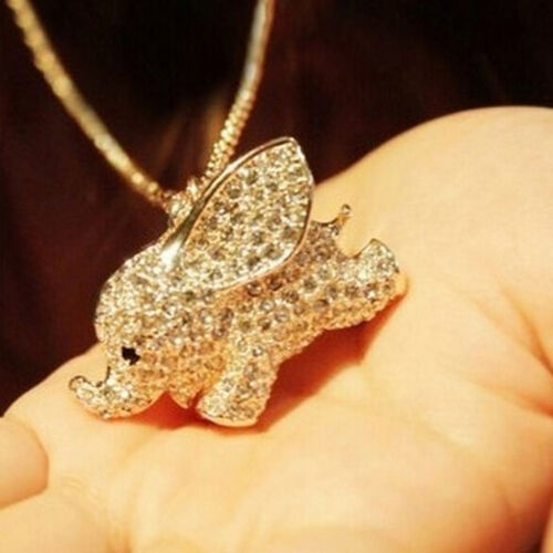 Gold Plated  Crystal Cute Baby Elephant Pendant Chain Sweater Necklace WL