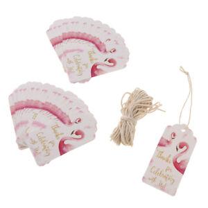 50x Papieranhänger Geschenk Anhänger Etiketten Tags Label mit Flamingo Bedruckt