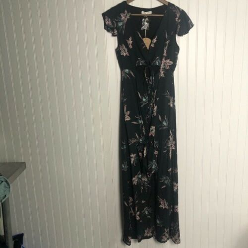 Honey punch floral cut out maxi dress black