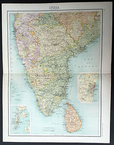 1890-Bartholomew-Large-Antique-Map-Southern-India-Ceylon-inset-Madras-amp-Bombay