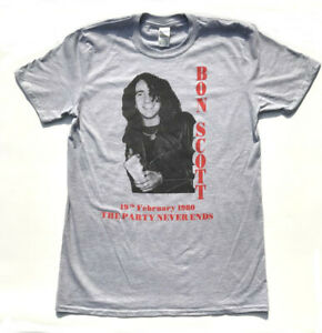 BON-SCOTT-T-shirt-THE-PARTY-NEVER-ENDS-Hard-Rock-Rock-N-Roll-Singer-AC-DC