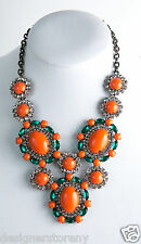 Kenneth Jay Lane Gunmetal/Crystal coral emerald bib necklace