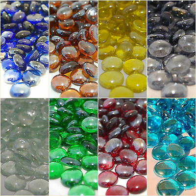 Round Glass Pebbles Stones Nuggets Beads Button Lots Quantities & Colours NEW