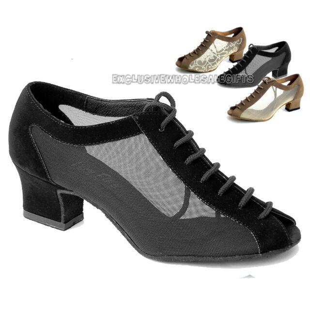 "Women's Ballroom Salsa Latin Practice Nubuck Dance Shoes 1643 Very Fine 2"" Heel"