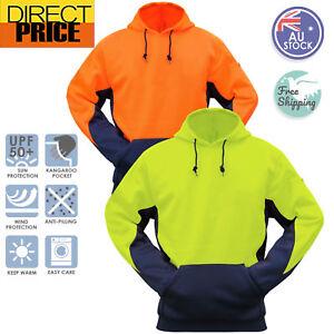 Hi-Vis-Fleece-Hoodie-Jumper-Safety-Workwear-Kangaroo-Pocket-Two-Tone-Contrast