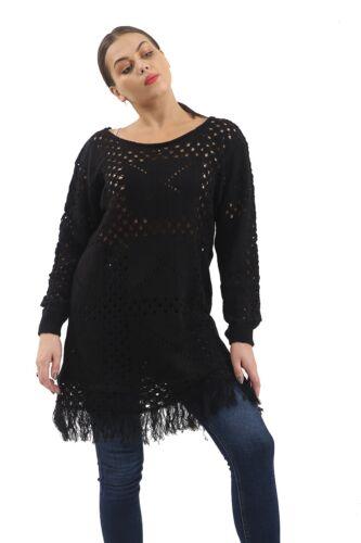 Nouveau Femme Manches Longues Volants fine knited pull Top Grandes Tailles