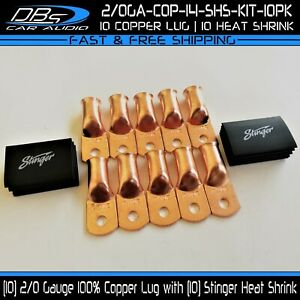 10-2-0-Gauge-Copper-1-4-Hole-Ring-Terminal-Battery-Cable-Lug-Stinger-Heat-Shrink