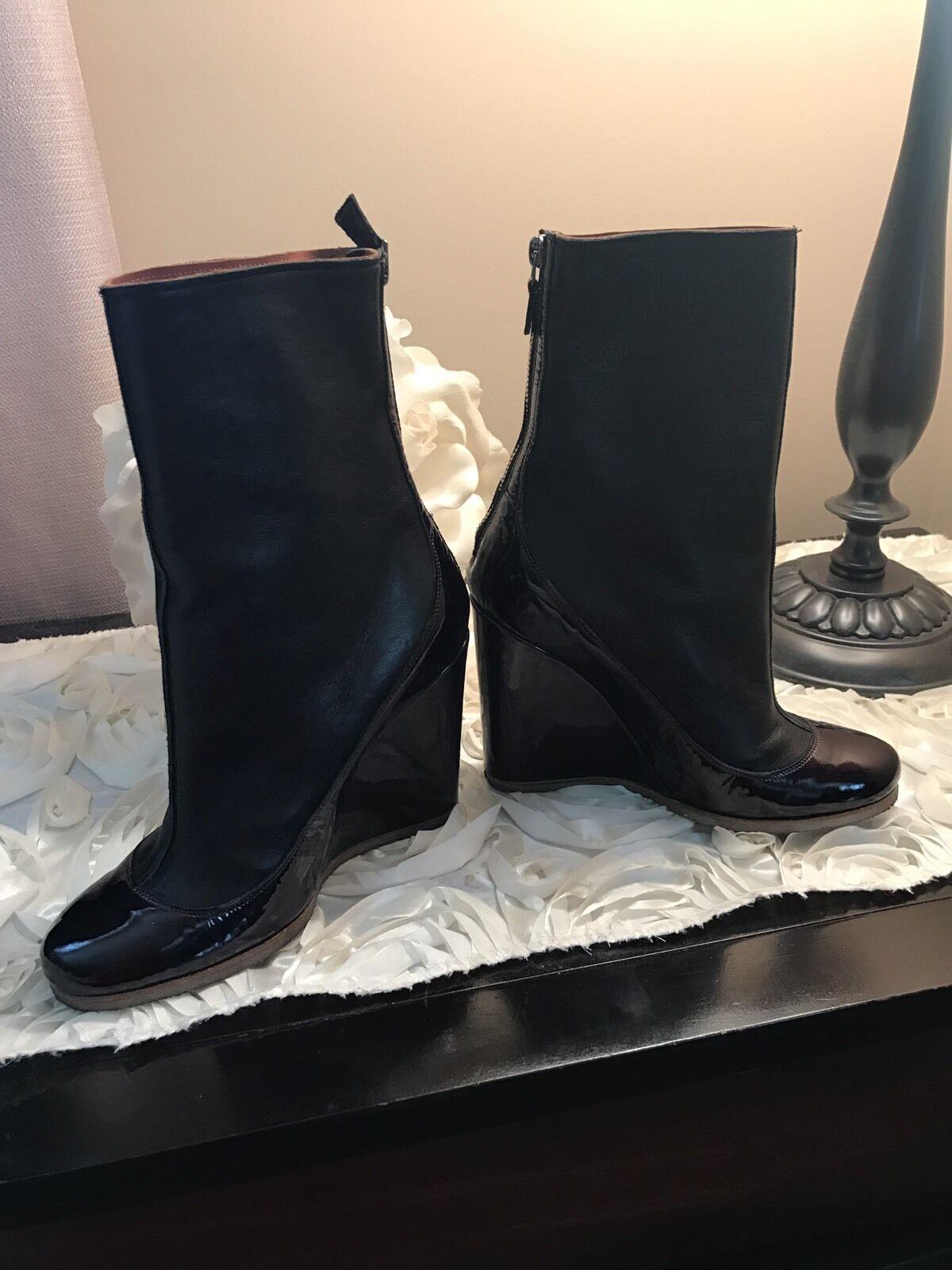 LANVIN nero & viola avvioies  Wedges scarpe Dimensione 35,5