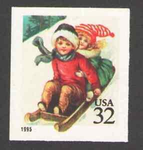 US-3013-32c-Children-Sledding-Christmas-AMT-MNH-1995