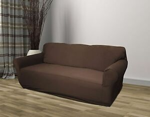 Brown Jersey Sofa Stretch Slipcover Couch Cover Chair