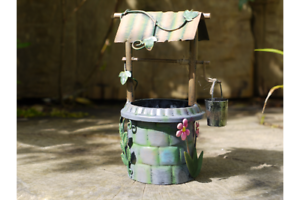 FAIRY-WISHING-WELL-METAL-HAND-PAINTED-GARDEN-DECORATION-ORNAMENT