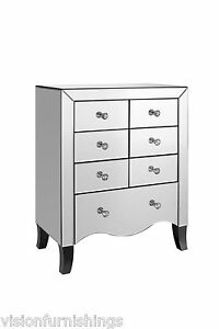 new mirrored glass 7 drawer chest of drawers ready assembled luxury