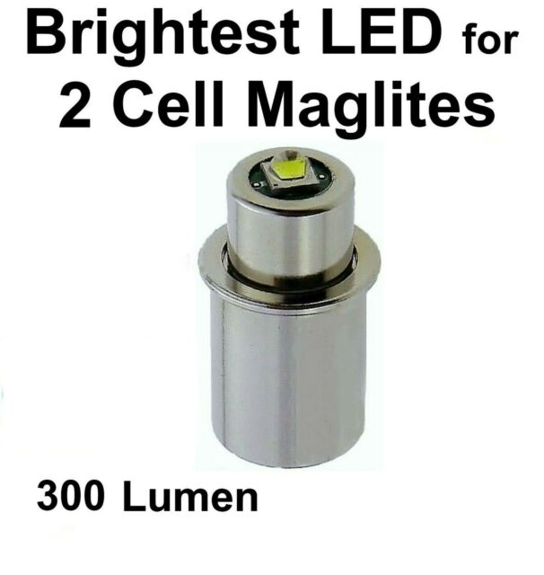 2pc Maglite LED Upgrade Bulb Conversion 2D 2C Cell Torch Flashlight Replacement