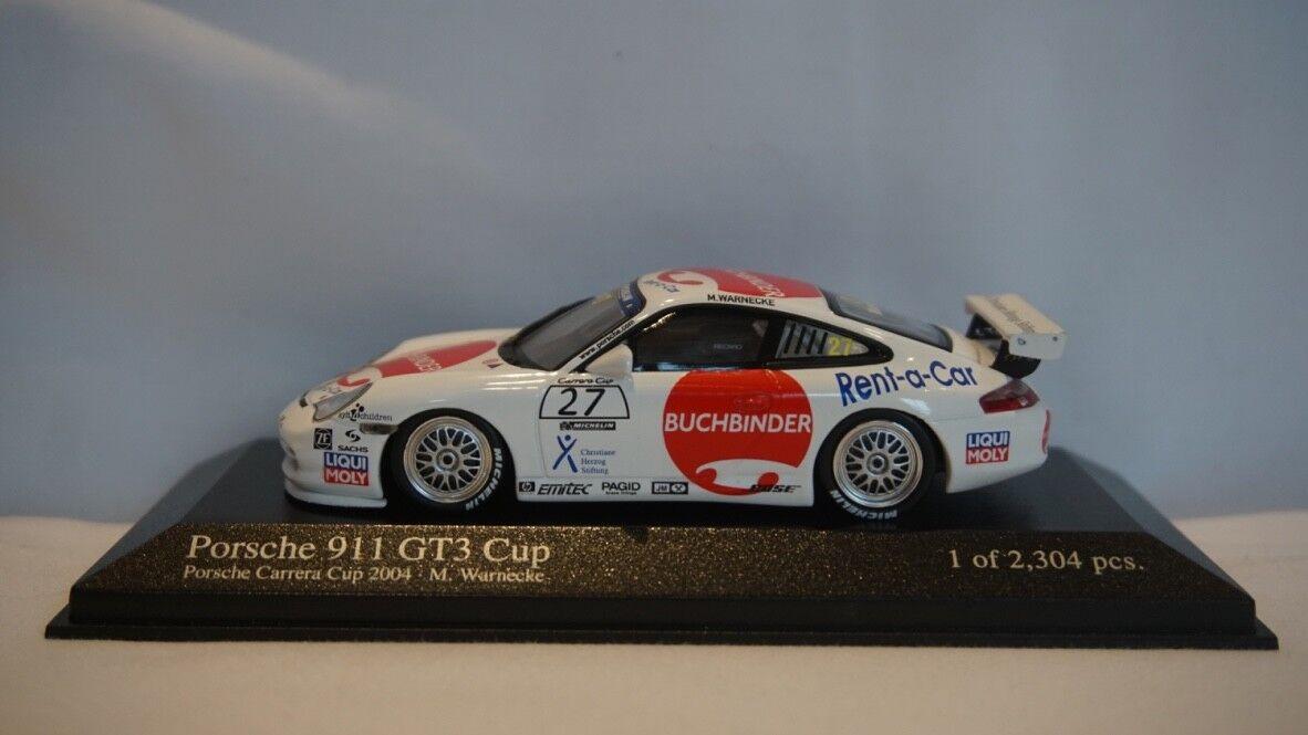 Extrêmement RARE MINICHAMPS PORSCHE 911 GT3 CUP 2004 Araxa Buchbinder  27 1 43