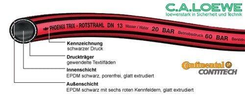 """1//2/""""=13 mm Rolle à 40 m Contitech Gummischlauch Wasserschlauch Trix Rotstrahl"""