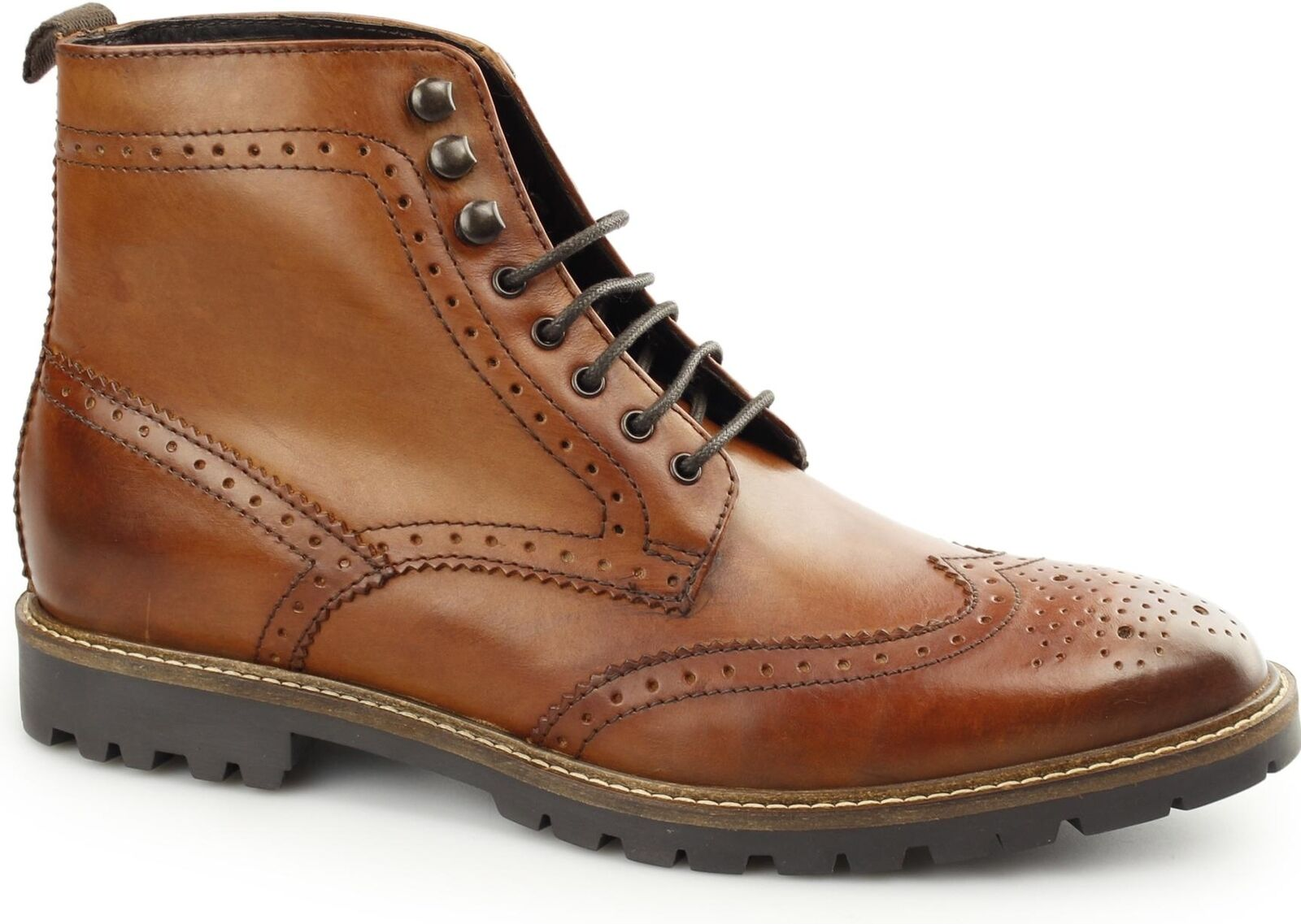 Base London TROOP Mens Washed Leather Wingtip Brogue Derby Boots Tan