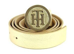 TOMMY-HILFIGER-TH-Round-Buckle-3-0-W95-Guertel-Accessoire-Gold-Gold-Neu