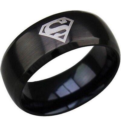 8MM Black Super Man Ring Stainless Steel Titanium Band SZ 6 7 8 9 10 11 12 13