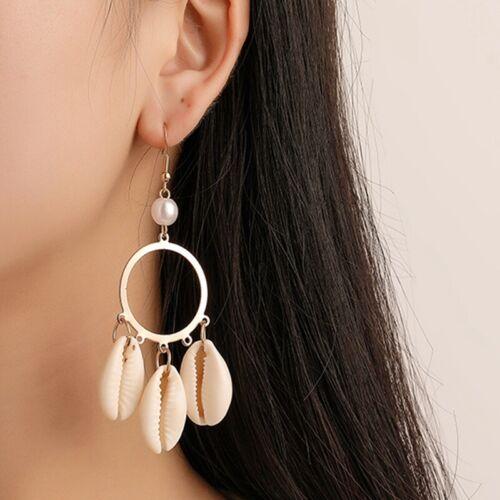 Muschel Perle Kreis Ohrhänger Übertriebener Quasten Boho Strand Tolle cRU litt