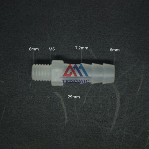 LOT10 6mm-M6 PP Straight Fish Tank Plastic pipe Aquariums Fitting Barbed thread