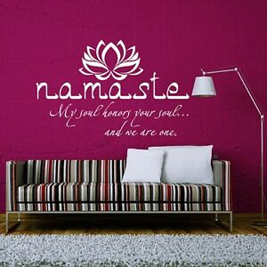 Vinyl Namaste Wall Decal Quote Buddha Lotus Flower Wall Sticker Yoga