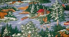 """26"""" The Lodge Quilt Fabric Hunting Cabin Bear Moose Canoe Squirrel Water"""