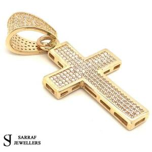 9ct-GOLD-CROSS-PENDANT-ONLY-375-Genuine-Solid-CZ-35x23mm-7GR-BRAND-NEW