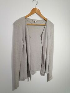 The-White-Company-Size-M-Grey-Waffle-Knit-Waterfall-Cardigan-Merino-Cotton