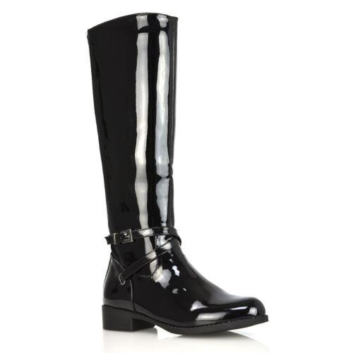 Womens Stretch Calf Knee Boots Ladies Low Heel Biker Riding Biker Long Shoes 3-8