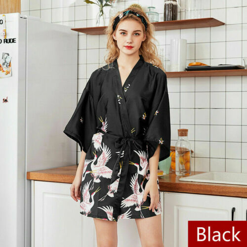 Japanisch Kunstseide Kimono Yukata Braut Brautjungfer Robe Bademantel Nachthemd
