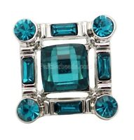 Silver Blue Square Rhinestone 20mm Interchangeable Jewelry Fits Ginger Snaps