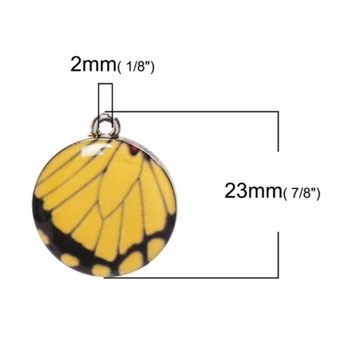 Yellow Butterfly 23mm Silver Plated Resin Pendant Charms C3988-2 5 Or 10PCs