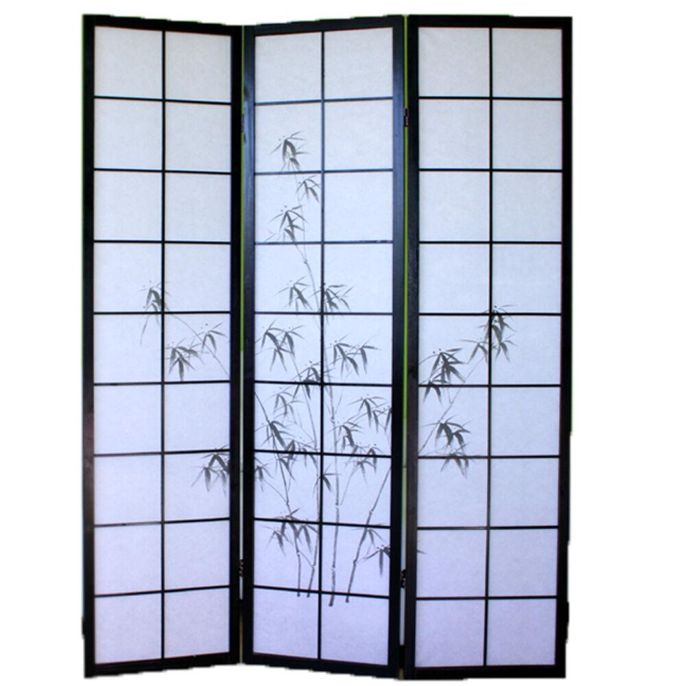 Spanische wand japanisch in holz schwarz mit zeichnung bambus der 3 kanten Dim
