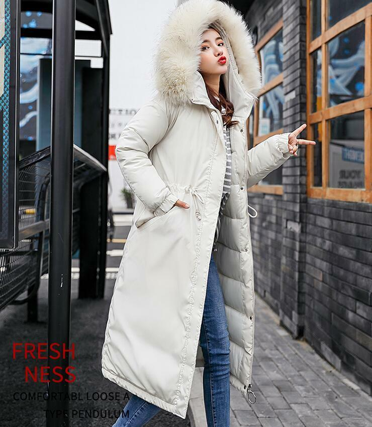 Womens Fur Collar Hooded Parka Coat Over Knee Long Winter Outwear Down Cotton Sb